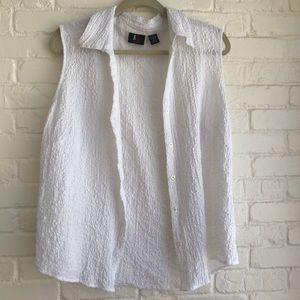 ALC button down white summer blouse size 1x